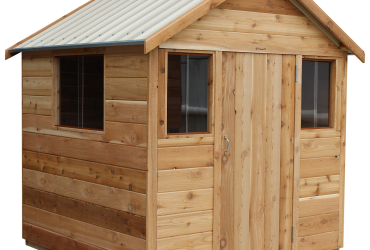 cedar playhouse with mini windows by shed quarters