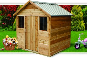cedar playhouse with two mini windows by shed quarter