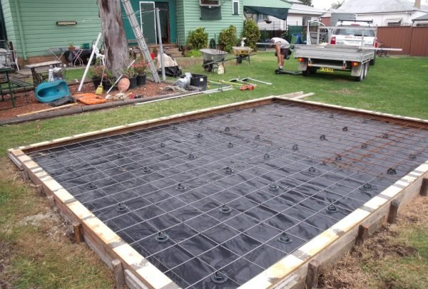making concrete slab from shed quarters